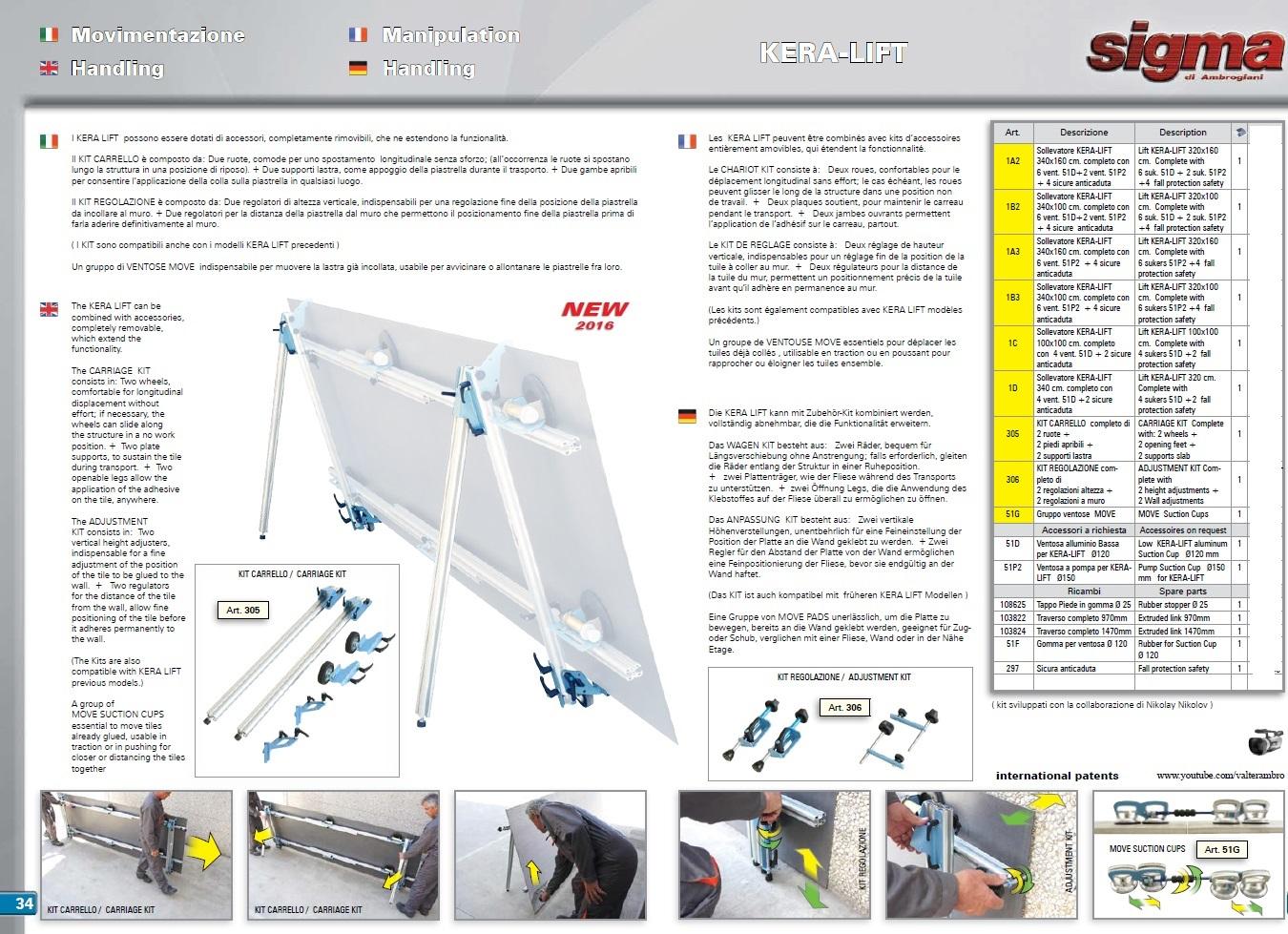 Prezzo sigma kera lift 1d sollevatore 340x100 per - Ventose per piastrelle ...