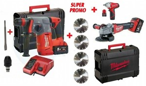 kit fuel bruschless milwaukee m18chx + m18 fhsag 125xpdb 18v 5,00 ah + c 12 iw