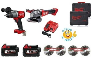 KITS BRUSHLESS milwaukee M18 FPD2-502X + M 18 FHSAG125 smerigliatrice